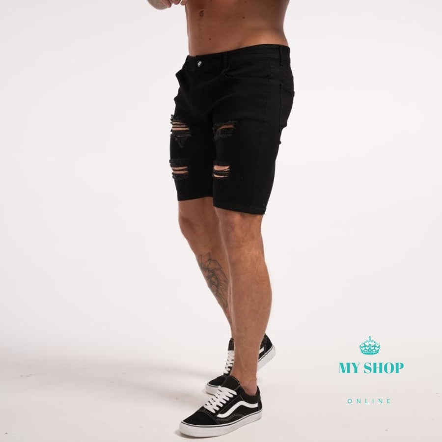 Jeans Shorts Mens Ripped Slim Fit Skinny Black For Guys Short Summer Hot Stretch Distressed