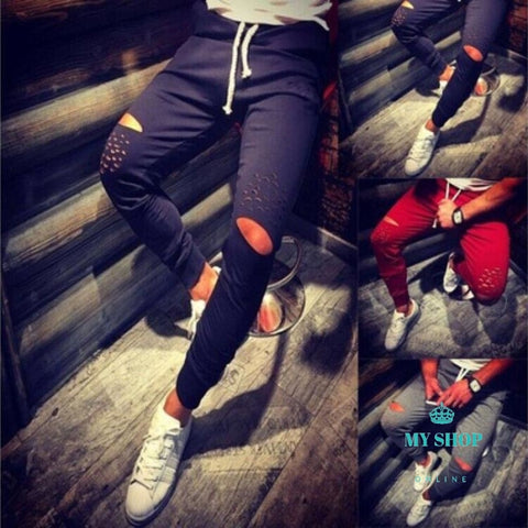 Joggers Fashion Mens Sweatpants Holes Leisure Pants Cotton Slim Outwear Ripped