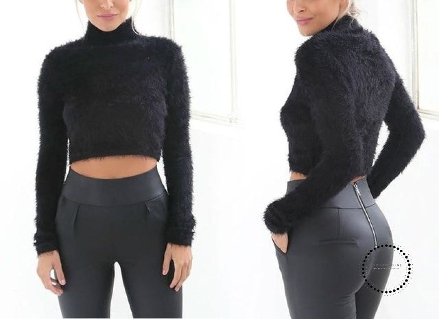 Knitted Sweater Women Autumn And Winter 5 Colours Plush Short Top Basic Long Sleeve Croptop Black /
