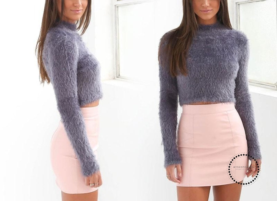 Knitted Sweater Women Autumn And Winter 5 Colours Plush Short Top Basic Long Sleeve Croptop