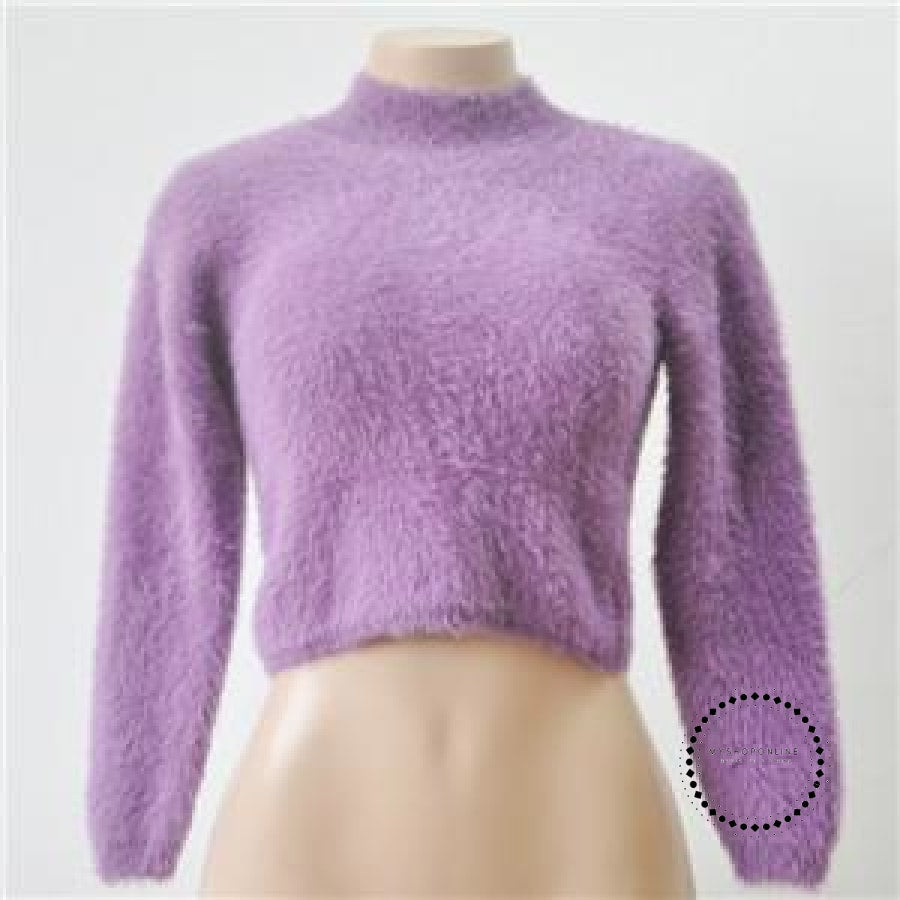 Knitted Sweater Women Autumn And Winter 5 Colours Plush Short Top Basic Long Sleeve Croptop Purple /