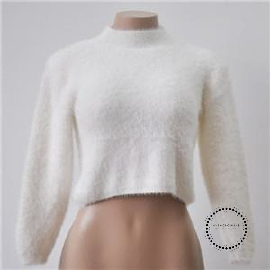 Knitted Sweater Women Autumn And Winter 5 Colours Plush Short Top Basic Long Sleeve Croptop White /