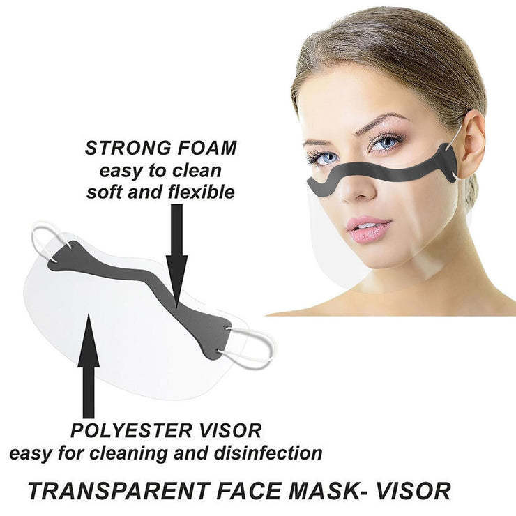 Clear Transparent Face Mask Skin Care Adult Unisex Durable Face Combine Plastic Reusable Face Masks Shield coronavirus