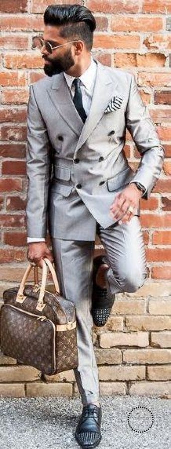 Light Gray Double Breasted Groom Tuxedos 2 Pieces Mens Wedding Prom Suits Best Man Groomsman Suit