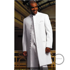 Long Coat White Groom Tuxedo Groomsman Blazer Man Business Suit Prom Men Suits