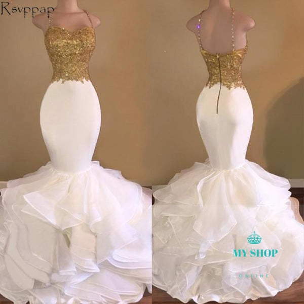 Long Prom Dresses Elegant Mermaid Style Spaghetti Strap Gold Top White Organza Accesorios