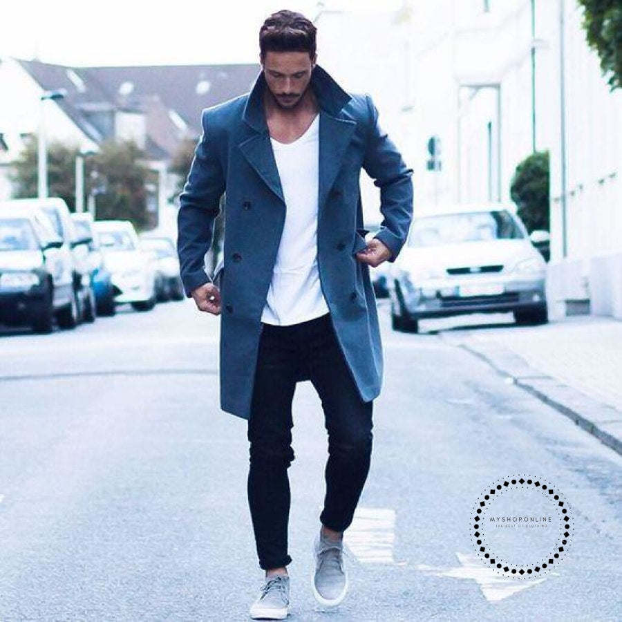 Long Sleeve Loose Overcoat Jacket Trench Coat Blue / S