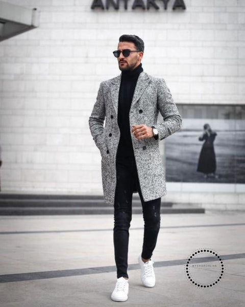 Long Sleeve Loose Overcoat Jacket Trench Coat Gray / S
