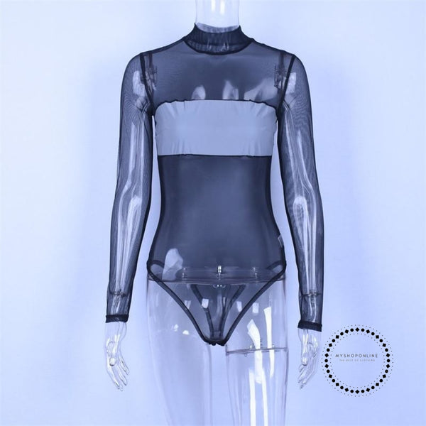 Long Sleeve Reflective Patchwork Bodysuit Autumn Winter Women Fashion Body