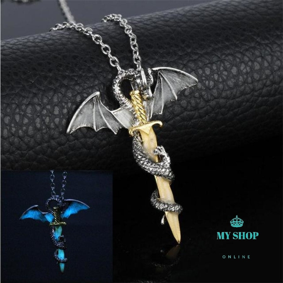 Luminous Jewelry Dragon Sword Pendant Necklace Game Of Throne Neck Lace Glow In The Dark Anime For