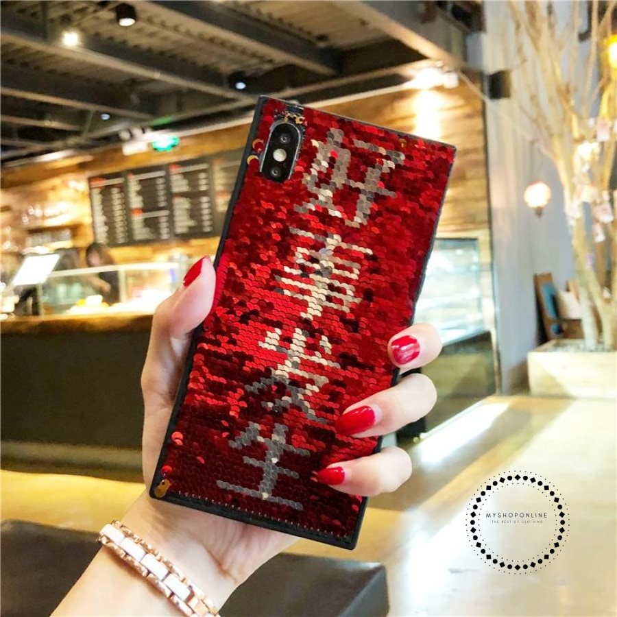 Luxury Blinking Sequin Eyes Phone Case For iPhone X XS 7 8 6s Plus Magic  Changing Pattern Color Toys Case For iPhone X 10 8 Plus