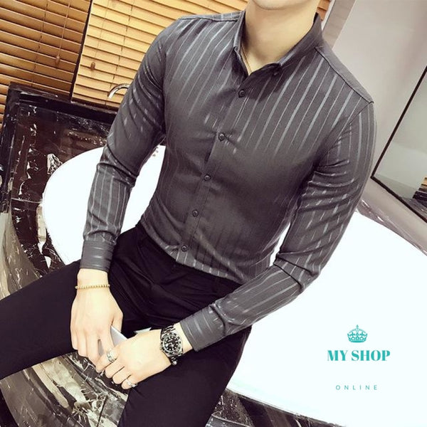 61ff4e3747 ... Luxury Stripe Shirt Men Business Casual Slim Fit Long Sleeve Camisa  Fashion Masculina Buton Down