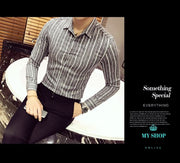 Luxury Stripe Shirt Men Business Casual Slim Fit Long Sleeve Camisa Fashion Masculina Buton Down