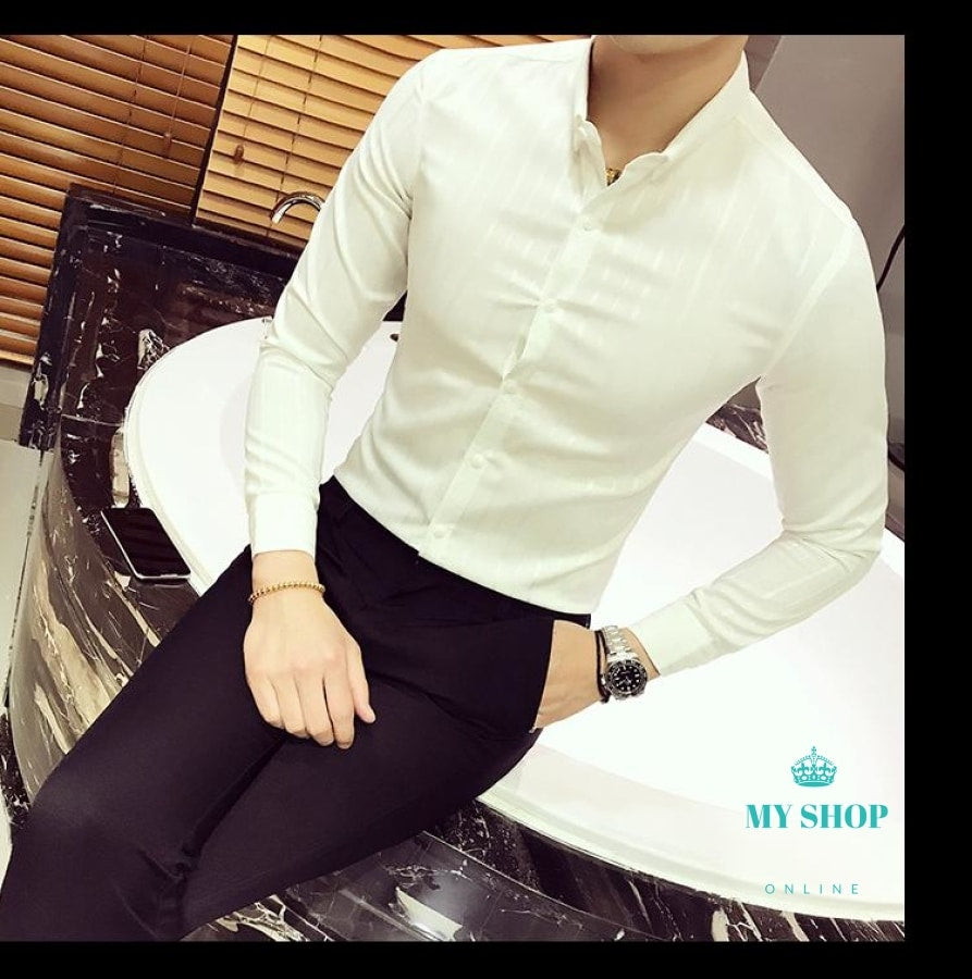 add22c477f ... Luxury Stripe Shirt Men Business Casual Slim Fit Long Sleeve Camisa  Fashion Masculina Buton Down ...