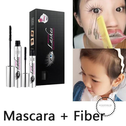Magic Black 4D Silk Fiber Mascara Didicat Makeup Set Eyelash Extension Lengthening Volume Waterproof
