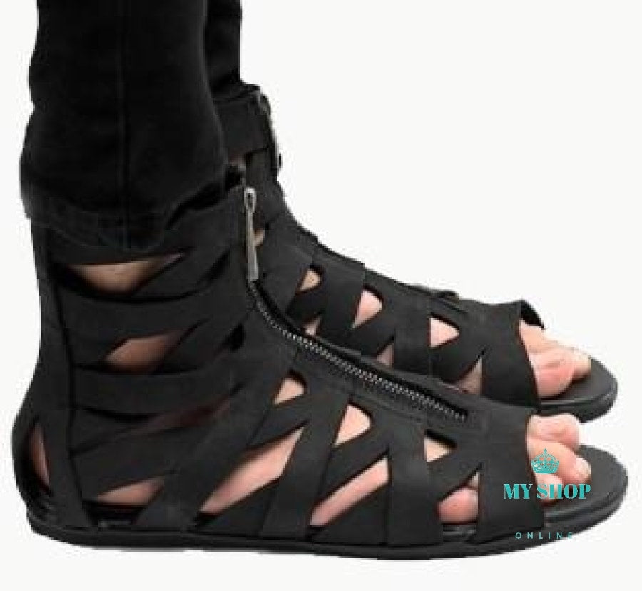 75 Cool Foot And Flip Flop Tattoos: Man Sandals Leather Summer Flip-Flops Roman Black Sandals