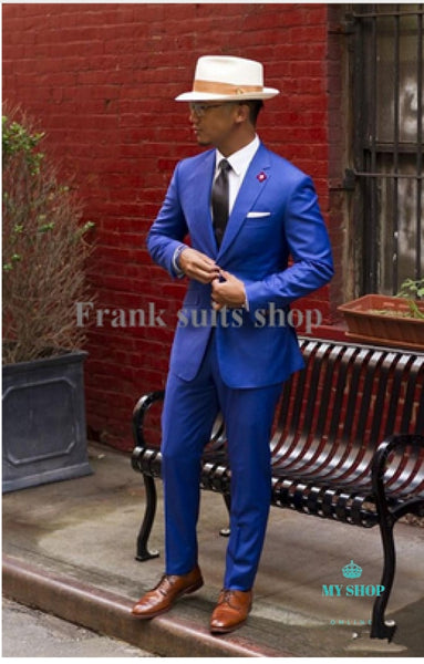 Men Business Suits With Pants Jacket Groom Suit Blue Mens Wedding For