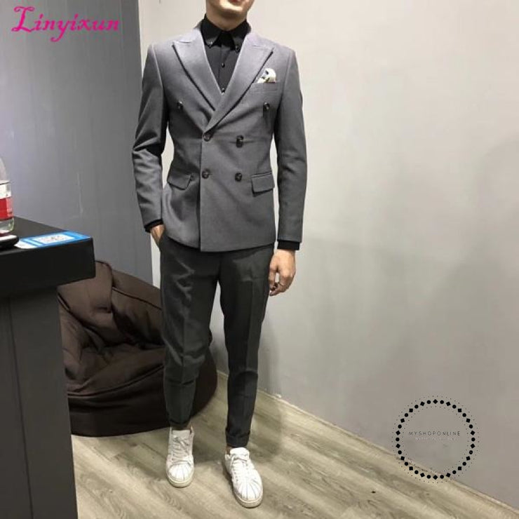 Men Herringbone British Style Custom Made Mens Suit Slim Fit Blazer Wedding Suits For