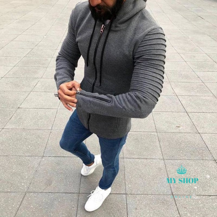Men Hooded Cardigan Jacket Slim Zip Sleeve Coat Hoodies Sweatshirt Accesorios