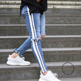Men Jeans Stretch Destroyed Ripped Design Fashion Ankle Zipper D Pencil Pants Skinny For Blue / S