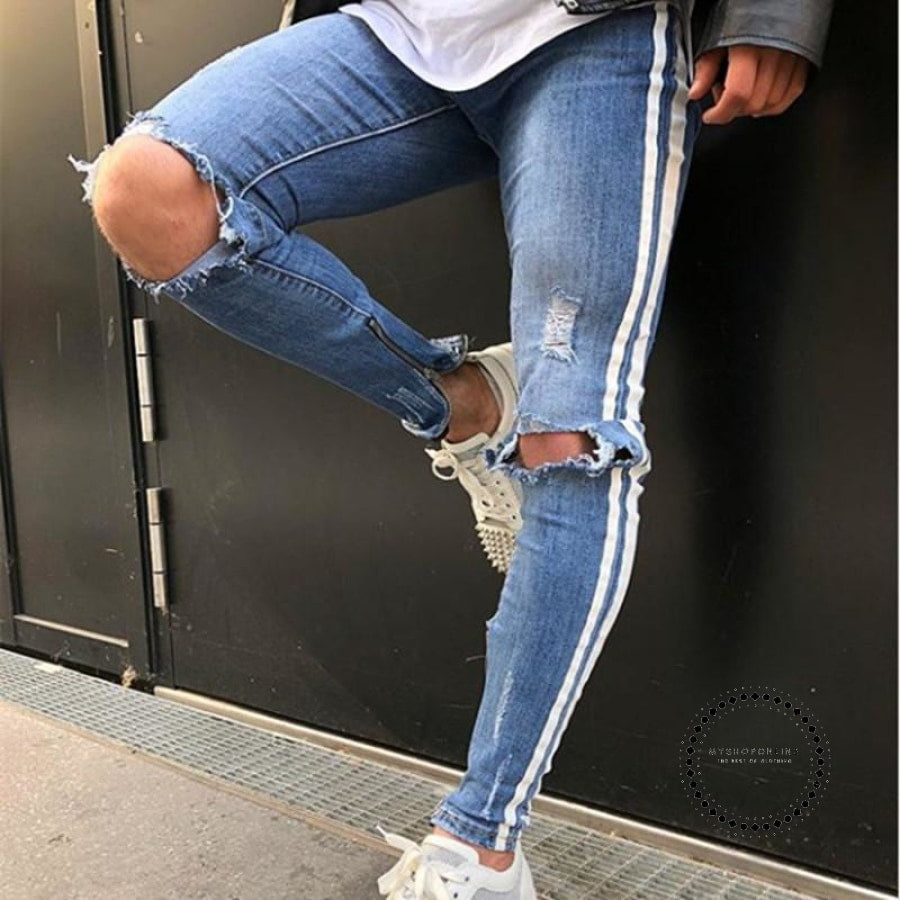 Men Jeans Stretch Destroyed Ripped Design Fashion Ankle Zipper D Pencil Pants Skinny For