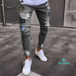 Men Jeans Stretch Skinny Patchwork Hole Distressed Washed Casual Solid Denim Ripped Retro Slim High