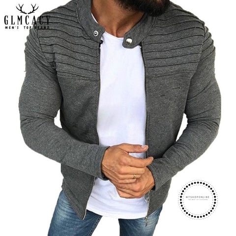 Men Ruched Raglan Long Sleeve Fashion Casual Jacket Warm Winter Baseball Coat Slim Outwear Overcoat