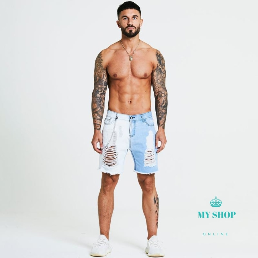 Men Shorts Ripped Distressed For Faded Blue Gradient Slim Fit Short Hip Hop Streetwear