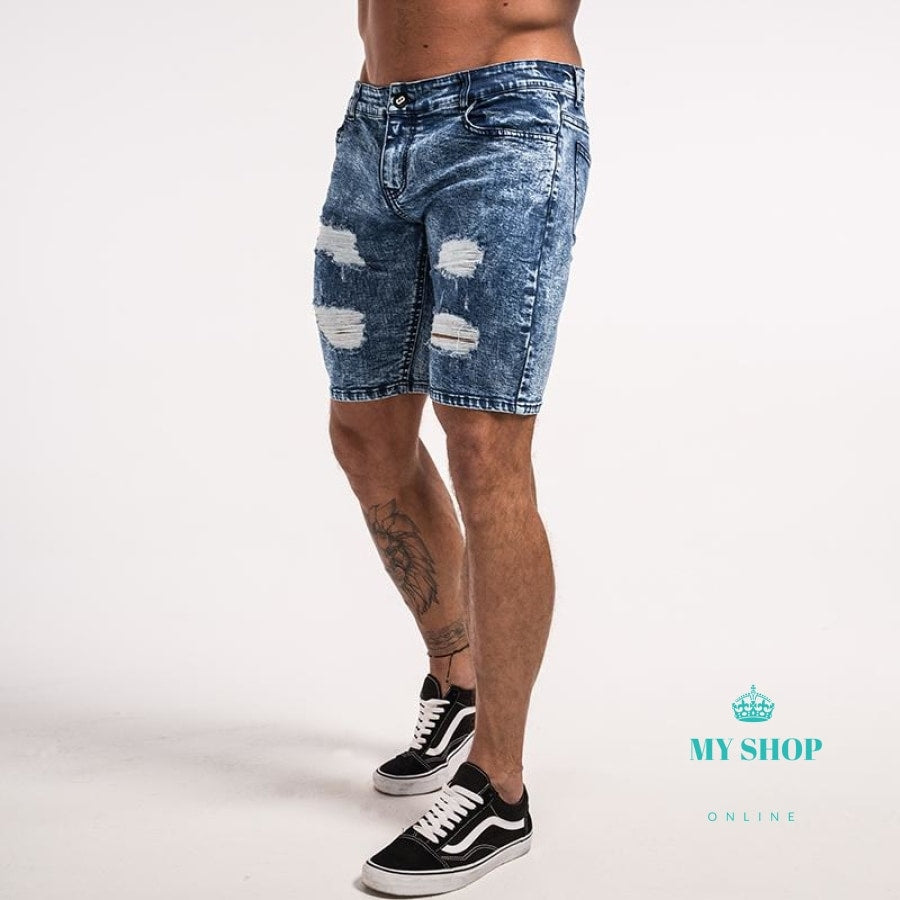 Men Shorts Skinny Jeans Ripped Repaired Distressed Blue For Men Stretch Tight Fashion Cotton