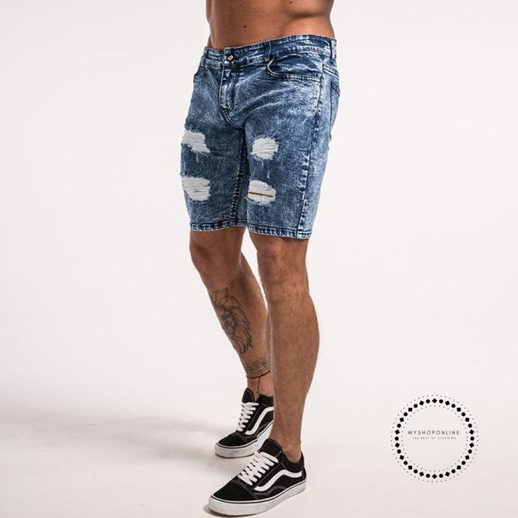 Men Shorts Summer Jeans Short For Stretchy Spray On Tight Pant Big Size Streetwear Hip Hop Blue