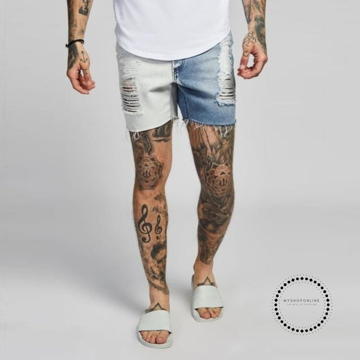 Men Shorts Summer Jeans Short For Stretchy Spray On Tight Pant Big Size Streetwear Hip Hop White