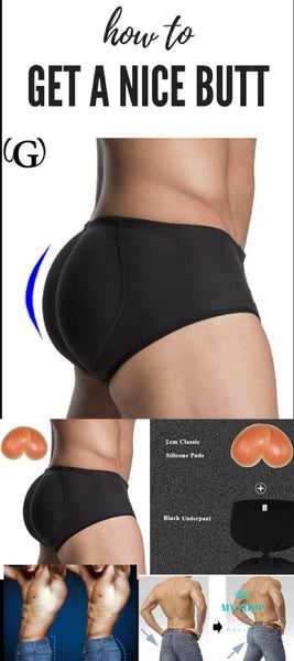 Men Sillicon Pads Butt Lifter Control Panties Removable Inserts Shaper Padded Enhancement Cotton