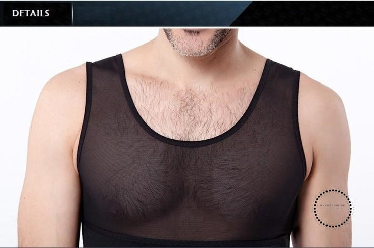 Men Slimming Waist Hook Girdle Shaper Control Big Belly Body Top Compression Boobs Vest Hold Abdomen