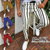 Men Stripe Slim Fit Ankle Pants Streetwear Side Stripes Checkered Trousers Casual Street Fashion
