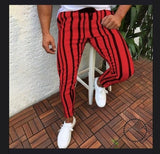 Men Stripe Slim Fit Ankle Pants Streetwear Side Stripes Checkered Trousers Casual Street Fashion Red