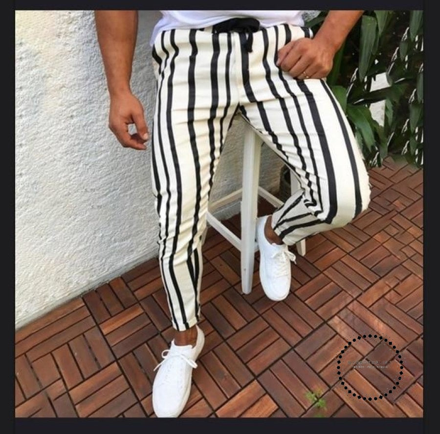 Men Stripe Slim Fit Ankle Pants Streetwear Side Stripes