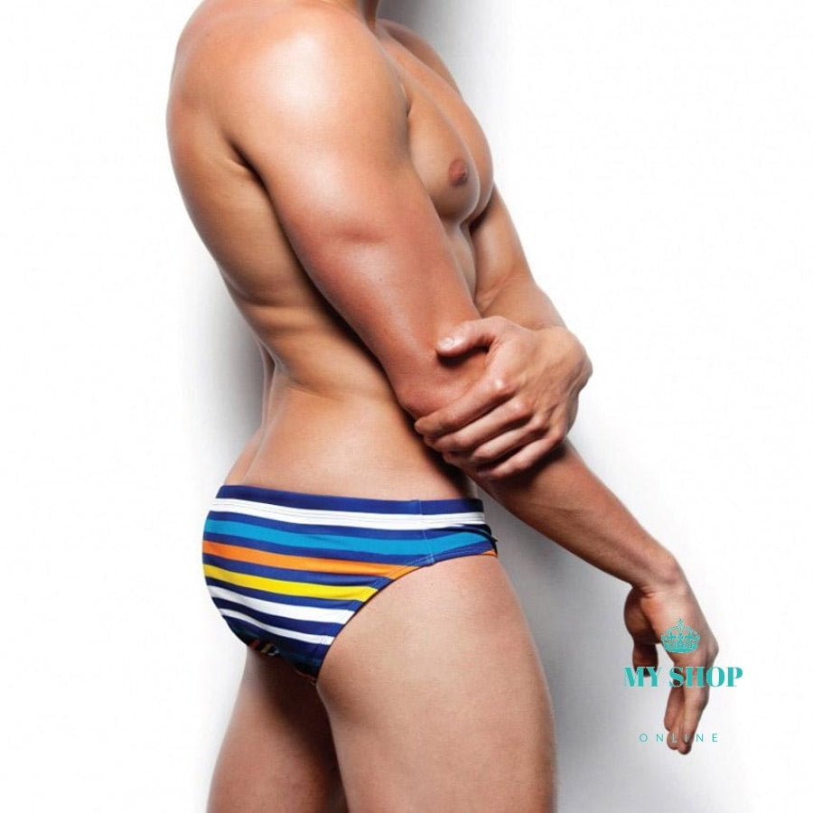 Men Striped Swimwear With Rope Brand Man Swimming Trunks -5610