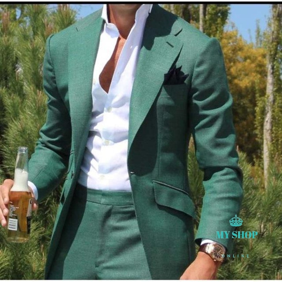 Men Suit Slim Fit Groom Prom Dress Blazer 2 Piece Casual Beach Summer Style Male Coat Jacket+Pant