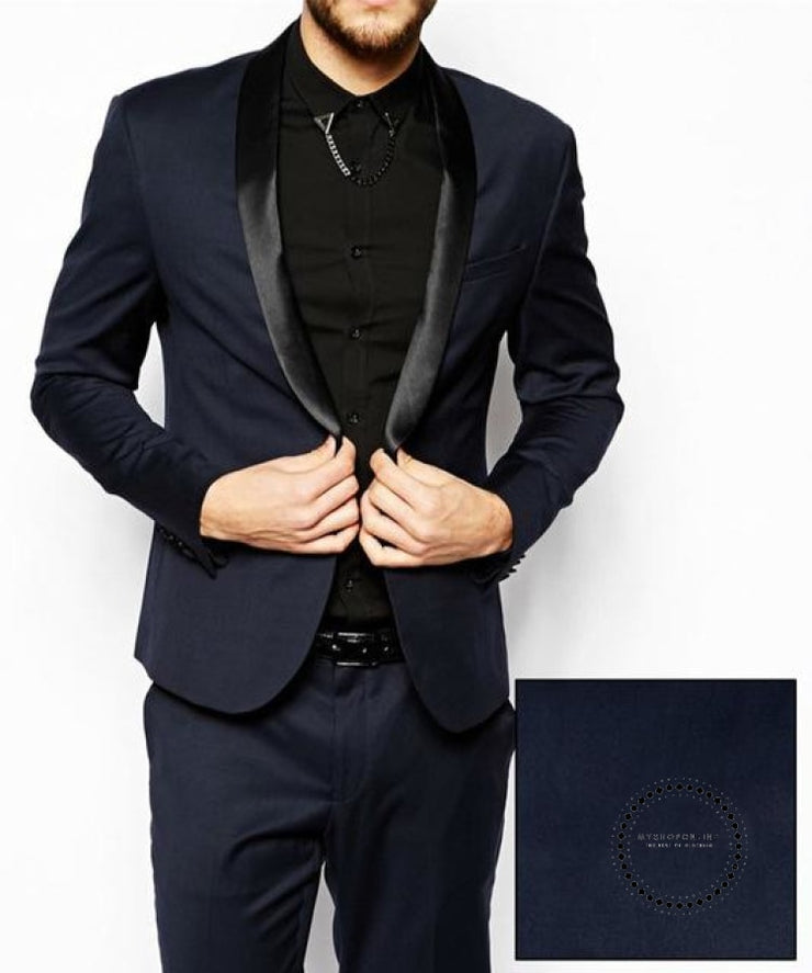 Men Suits Navy Blue Wedding Tuxedos For Slim Fit Mens Suit Clothing Shawl Collar Business Casual
