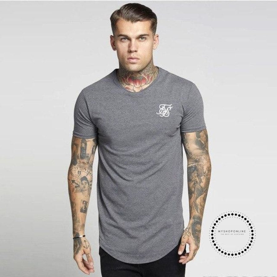 Men Summer Fashion Casual Hip Hop T-Shirts Irregular Curved Hem Short Sleeved Gray / L