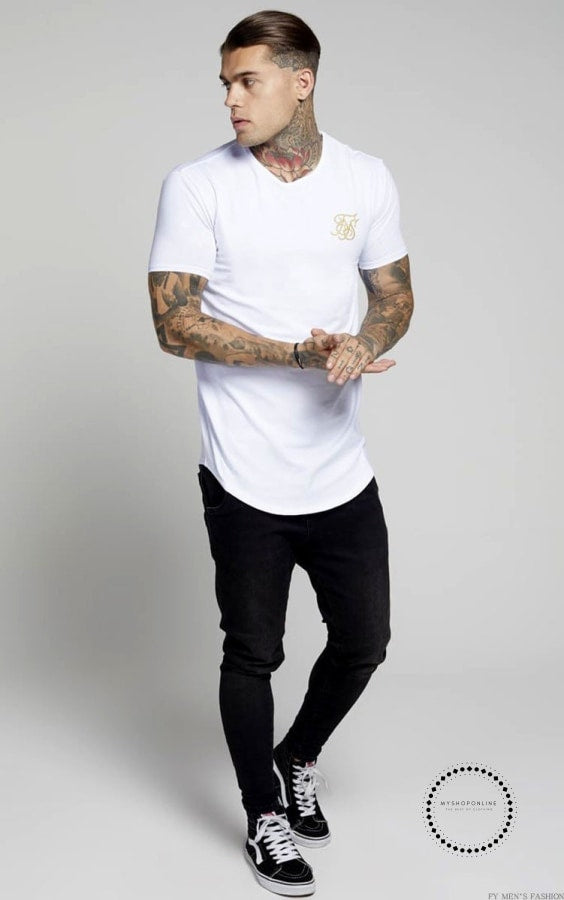 Men Summer Fashion Casual Hip Hop T-Shirts Irregular Curved Hem Short Sleeved
