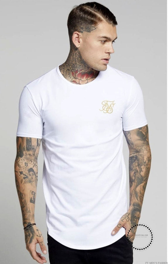 Men Summer Fashion Casual Hip Hop T-Shirts Irregular Curved Hem Short Sleeved White / L