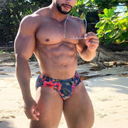 Men Swim Shorts Sexy Floral Low Rise Briefs Summer Beachwear Swiming Trunks Male Surf Board Short Swimsuit Bottoms Comfortable