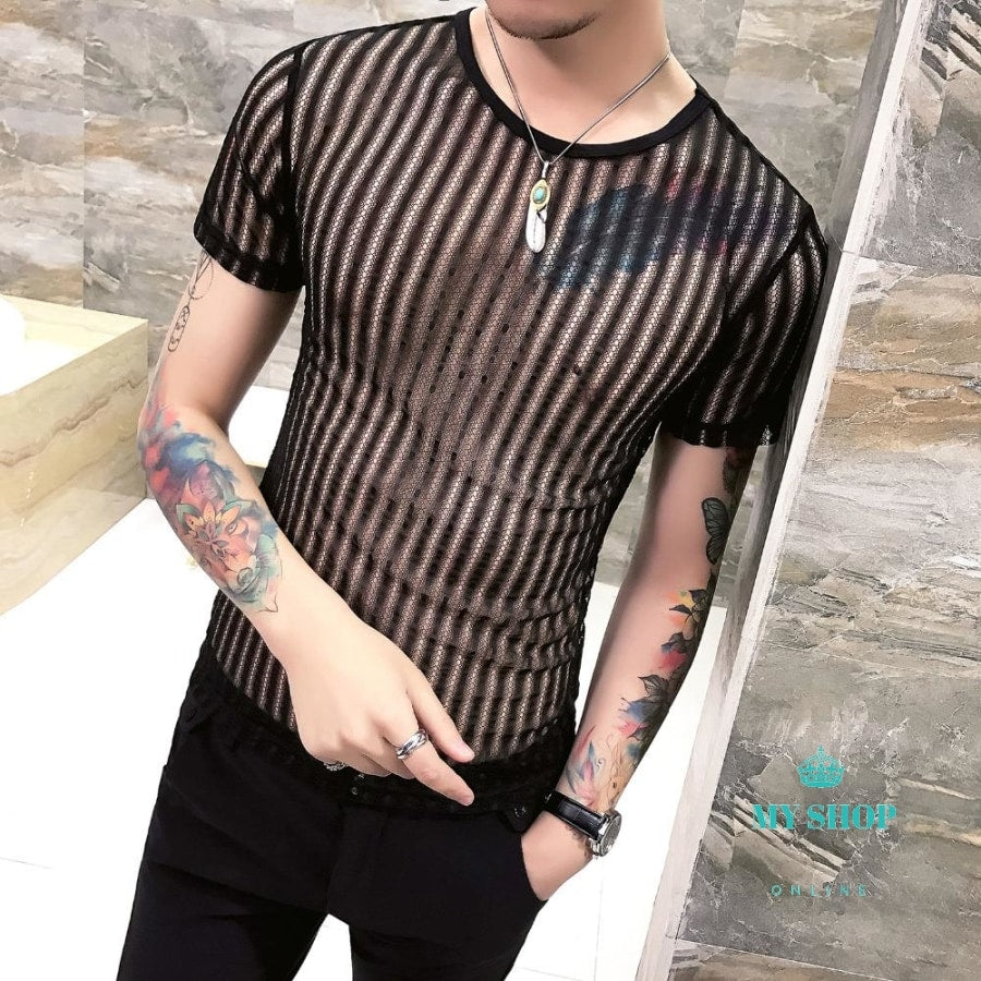 0a993cd505c1 Men T Shirt Summer Fashion Designer Hollow Mens Casual T-Shirts Short  Sleeve Slim Fit O-Neck Breathable Thin Basic Tees