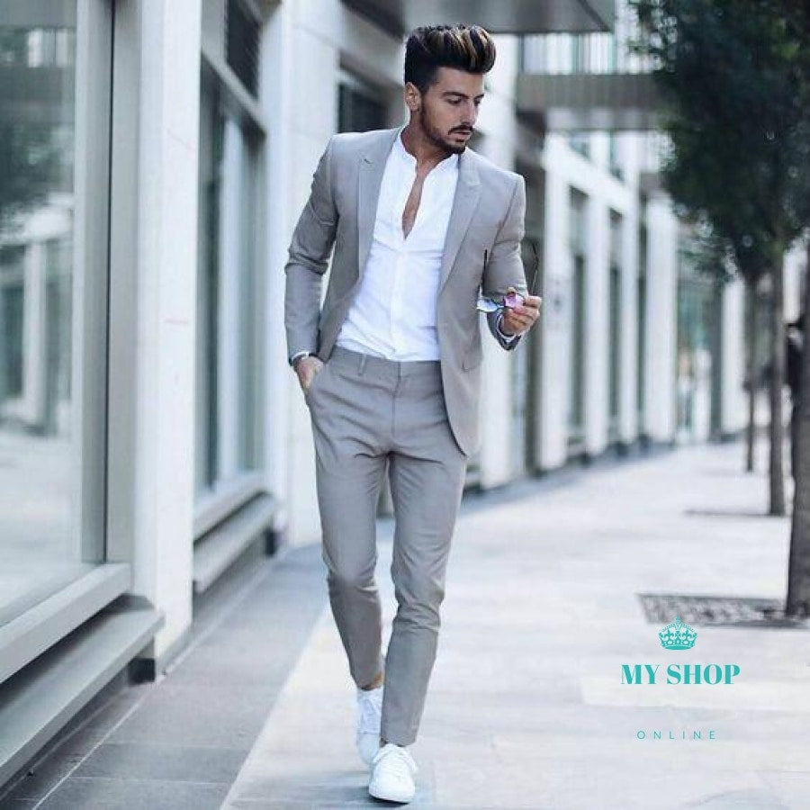 Men Wedding Suits Prom Best Man Suit (Jacket+Pants+Bow ...