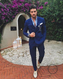 Men Wedding Suits Prom Best Man Suit (Jacket+Pants+Bow) Blue / M Accesorios