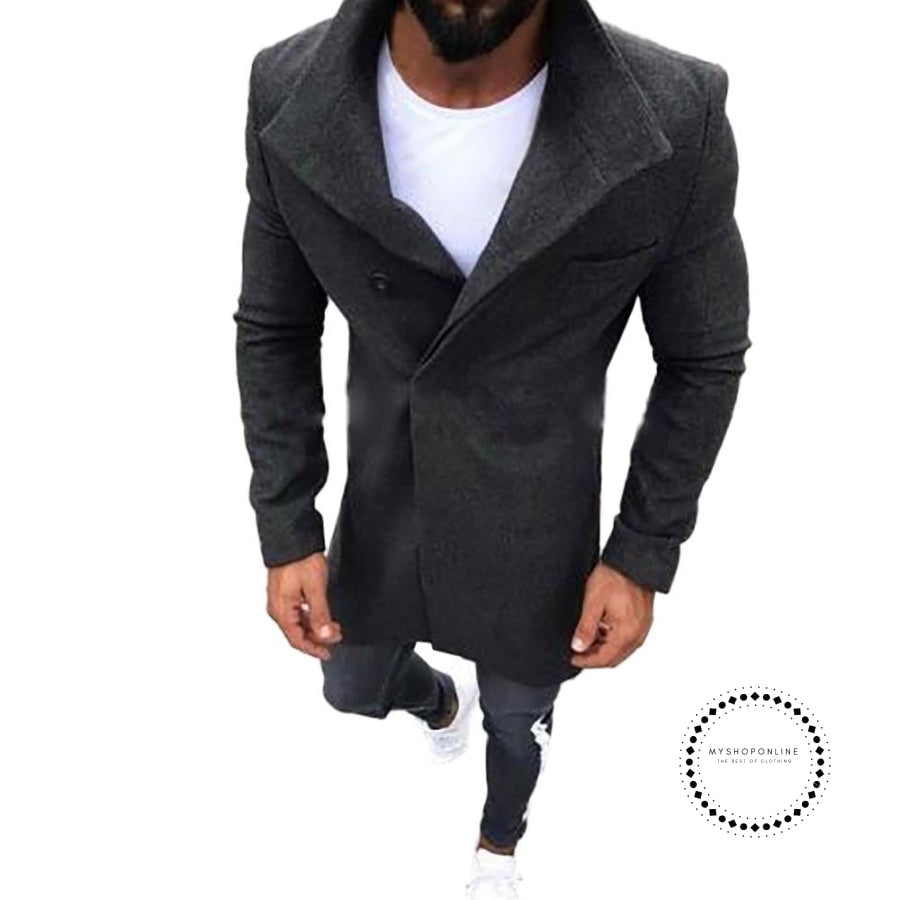 d80262743 Men Winter Slim Fit Coat Men wool Trench Coat Design Stylish ...