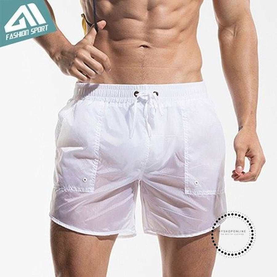 Mens Board Shorts Summer Beach Surfing Man Swimming Athletic Sport Running White / M