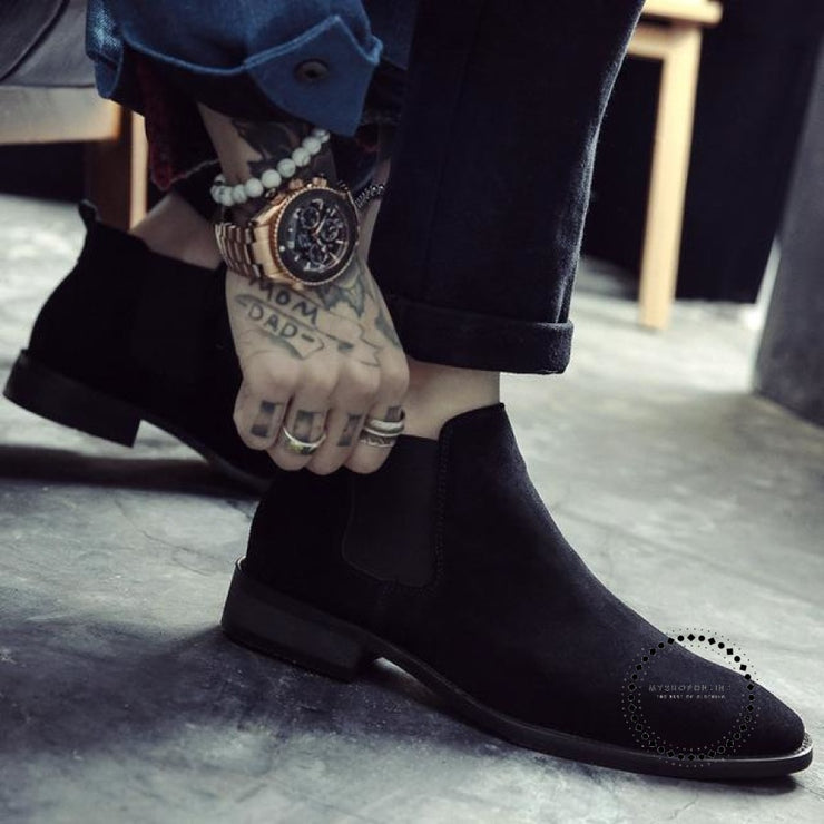 Mens Boots Pointed Toe Suede Leather Chelsea Slip On Rubber Sole Booties Black / 12