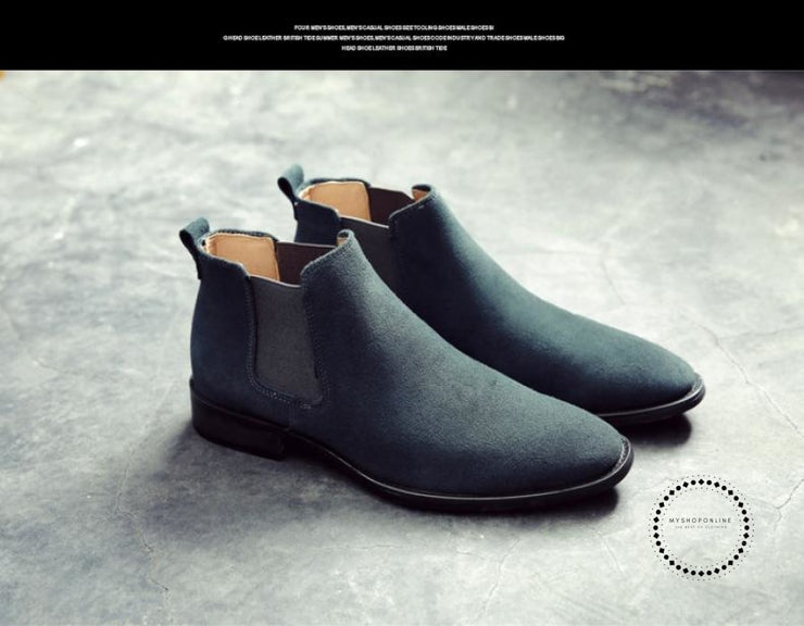 Mens Boots Pointed Toe Suede Leather Chelsea Slip On Rubber Sole Booties Green / 12